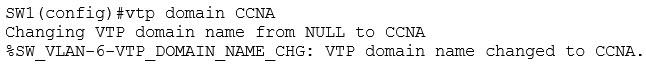 VTP domain set to CCNA